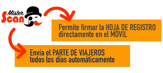 MisterScan con firma de la hoja de registro y envío automático del parte de viajeros